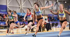 Athletes in action  at the Sport Ireland National Indoor Arena in Abbotstown, Dublin, last weekend. Photograph: Sam Barnes/Sportsfile