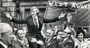 Enda Kenny has told a meeting of the Fine Gael parliamentary party he will deal with his future conclusively after St Patrick's Day - Here are some images from the Taoiseach's long political career so far..The Mayo West by-election winner 25 year-old Enda Kenny FG being shouldered into the Dail in 1975. Photograph: Jimmy McCormack / The Irish Times