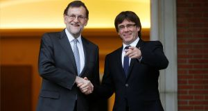 Spanish  prime minister Mariano Rajoy  and Catalan president Carles Puigdemont in April, 2016. Photograph: Susana Vera/Reuters