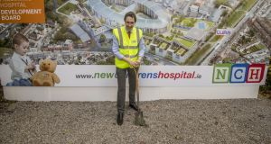 Minister for Health Simon Harris at the turning of the sod last summer at the new children's hospital at St James's, the most expensive children's hospital to be built anywhere in the world.   Photograph: Brenda Fitzsimons