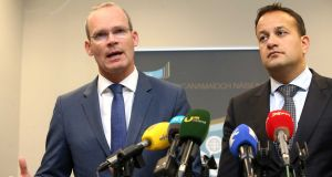 The  leading contenders to replace Enda Kenny as Fine Gael leader and taoiseach, Simon Coveney and Leo  Varadkar. Photograph: Sam Boal/RollingNews.ie