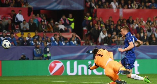 Leicester City Striker Jamie Vardy Scores Past Sergio Rico Of Sevilla During The Uefa Champions League