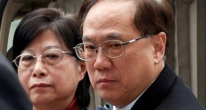 Former Hong Kong chief executive Donald Tsang and his wife Selina arrive the High Court in Hong Kong. Photograph: Reuters