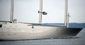 "The futuristic Philippe Starck-designed €400m ""Sailing Yacht A"", property of Russian industrialist Andrey Melnichenko."
