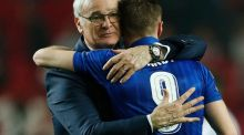 Leicester City's Jamie Vardy and Claudio Ranieri after Wednesday night's Champions League match with Sevilla. Photograph: Reuters