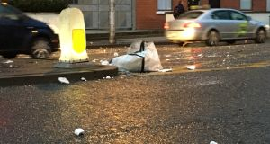 Building material blows onto a street in Dublin city centre from an adjacent site. Photograph: Dan Griffin
