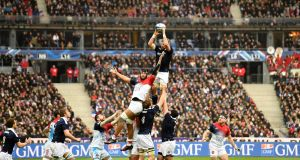 John Barclay in action against France at the Stade de France. Photograph: Getty Images