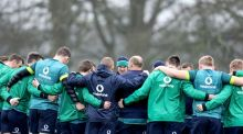 Jonathan Sexton talks to his Irish teammates in training ahead of Saturday's Six Nations clash. Photograph: Dan Sheridan/Inpho