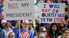 Demonstrators rally in Salt Lake City, Utah, on Monday in one of several 'Not My President' protests against Donald Trump to mark the President's Day holiday. Photograph: AP Photo/Rick Bowmer