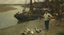 When the Boats Come In by Walter Frederick Osborne, estimated at £100,000- £150,000, on sale at auction at Bonhams,  London, on Wednesday, March 1st