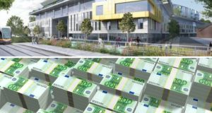An artist's impression of what the national children's hospital will look like. Sinn Féin's Mary Lou McDonald said Finland, a comparable jurisdiction, was building a hospital for half the cost.