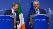 Taoiseach Enda Kenny and European Commission president Jean- Claude Juncker at a joint news conference following their meeting in Brussels, Belgium. Photograph: Olivier Hoslet/EPA