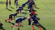 The French side go through some drills at the Arboras Stadium, Nice,  as they prepare to face Ireland in the Six Nations on Saturday. Photograph: Reuters