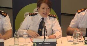 Garda Commissioner Nóirín O'Sullivan at a meeting of the policing authority on Thursday. Photograph: Policing authority/YouTube