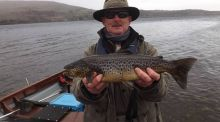 Michael Shanks with his first trout on opening day of 1.1kg on Corrib.