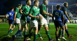 Tommy O'Brien celebrates scoring a try for Ireland under-20s against their Italian counterparts at Stadio Enrico Chersoni in Prato on February 10th. Photograph: Matteo Ciambelli/Inpho.
