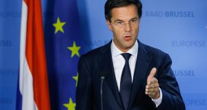 The Liberal party of the  prime minister, Mark Rutte plans to cut welfare payments, according to CPB analysis. Photograph: Epa/Julien Warnand
