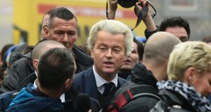 Geert Wilders  addressing journalists as he officially launched his parliamentary election campaign in Spijkenisse last weekend. Photograph: John Thys/AFP/Getty Images