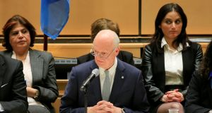 UN special envoy for Syria Staffan de Mistura addresses the  Syrian delegations at talks in Geneva yesterday. Photograph: Pierre Albouy/Reuters