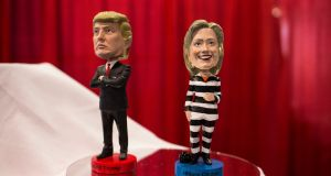 Bobbleheads of US president Donald Trump and Hillary Clinton (in a prison uniform) at the Conservative Political Action Conference at the Gaylord National Resort and Convention Center in National Harbor, Maryland. Photograph: Al Drago/The New York Times