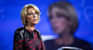 US education secretary Betsy DeVos speaks at the Conservative Political Action Conference in Maryland. Photograph:Jim Lo Scalzo/EPA