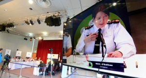 Garda Commissioner Nóirín O' Sullivan speaking during the Policing Authority public meeting at Griffith College in Dublin. Photograph: Cyril Byrne