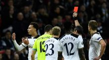 Dele Alli was shown a straight red card as Tottenham were dumped out of Europe by Belgian minnows Gent. Photograph: Dylan Martinez/Reuters