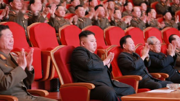 North Korean leader Kim Jong-un visiting the People's Theatre in Pyongyang on Wednesday. Photograph: Getty Images