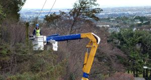An ESB crew works to restore power at Sandyford in south Dublin this morning. Photograph: Cyril Byrne/The Irish Times