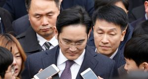 Samsung Group chief Jay Y Lee:  charged with pledging 43 billion won in bribes to organisations linked to South Korean president Park Geun-hye. Photograph: Kim Hong-Ji/Reuters