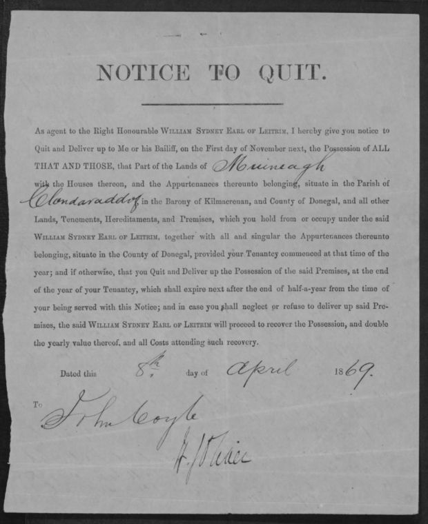 Donegal woman Eunice Coyle's son Hugh died in the US civil war. Her pension claim was backed up by this eviction notice form the Earl of Leitrim
