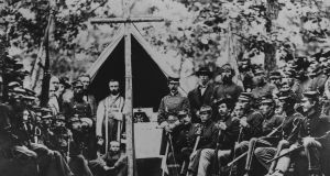 Sunday morning Mass at Camp Cass in  1861 during the US civil war.  Photograph:  Getty Images