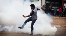 Tear gas and rubber bullets fired at protesters in South Africa
