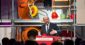 Scorching analysis: Martin Schulz diagnoses Germany's ills in Bielefeld. Photograph: Friso Gentsch/AFP/Getty