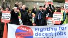 Trade unionist Arthur Scargill joins Tesco workers in Artane, Dublin, in their struggle against employer pressure for downward social mobility. Photograph: Cyril Byrne