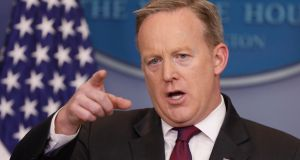"White House press secretary Sean Spicer said the White House ""didn't try to knock the story down. We asked them to tell the truth"". Photograph: Getty"