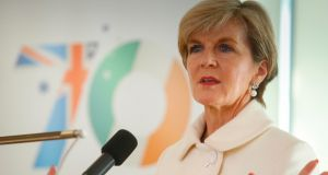 Australian foreign minister Julie Bishop at a  breakfast meeting in Dublin. Photograph: Conor McCabe Photography