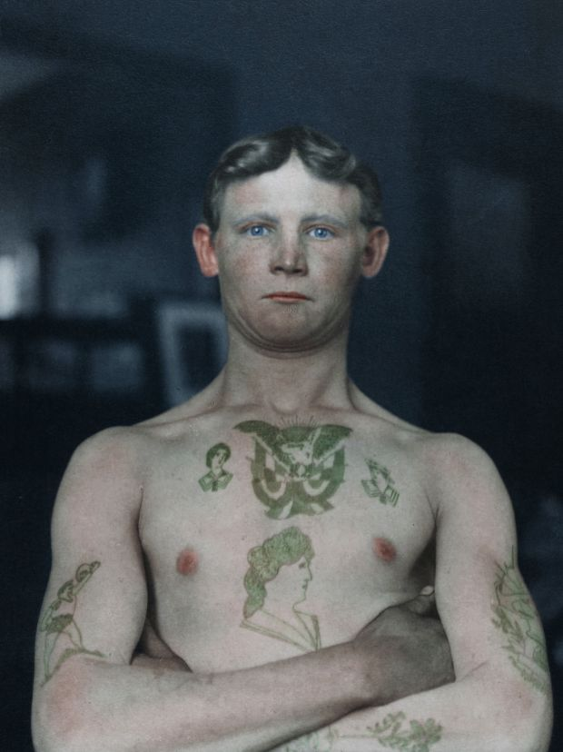 German stowaway photographed at Ellis Island Immigration Station in 1911. Photograph: New York Public Library, colourised by Matt Loughrey