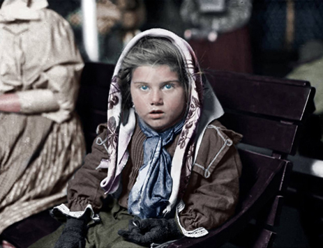 Photograph: New York Public Library/Lewis Hine, colourised by Matt Loughrey