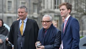 Martin Scorsese at Trinity College Dublin with provost Patrick Prendergast and the president of the Phil, Matthew Nuding. Photograph:  Alan Betson