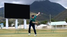 England captain Eoin Morgan throws during a nets session at Warner Park in Basseterre, St Kitts. Photograph:  Gareth Copley/Getty Images