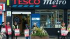 Tesco workers picketing outside Tesco Metro in Drumcondra, Dublin, on Friday. Photograph: Dave Meehan