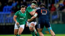 Ireland's Caelan Doris goes past Florian Dufour of France during their Six Nations clash at Donnybrook. Photo: James Crombie/Inpho
