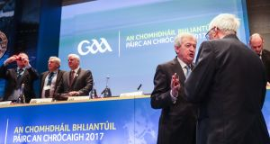 Director General of the GAA Paraic Duffy speaks to Westmeath county board chairman Sean Sheridan during Annual Congress on Saturday. Photograph: James Crombie/Inpho