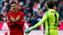 Bayern Munich's Robert Lewandowski bagged a hat-trick for Bayern on Saturday. Photograph: Michaela Rehle/Reuters