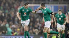 Ireland outhalf  Jonathan Sexton celebrates kicking a drop goal with  Rob Kearney during the Six Nations match against France at the Aviva Stadium. Photograph:  Billy Stickland/Inpho