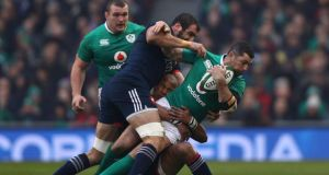 Rob Kearney - Carried ugly ball when Ireland needed early yardage but stood up by the brilliant Baptiste Serin – he won't be the last – and missed another tackle on Camille Lopez. Injury enforced withdrawal on 51 minutes. Rating: 6 (Photograph: Ian Walton/Getty Images)