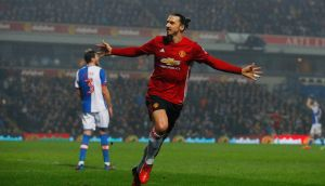 Manchester United's Zlatan Ibrahimovic celebrates scoring their second goal against Blackburn in the FA Cup. Photo: Phil Noble/Reuters