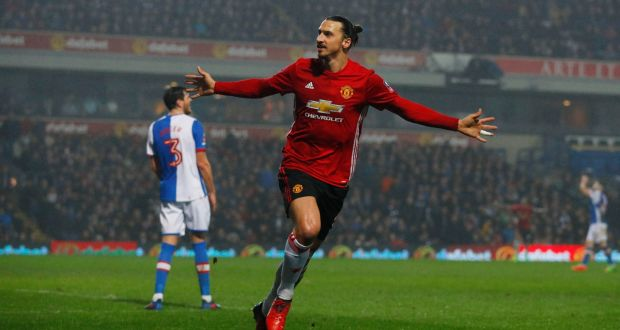 9f98b7c4f5c Manchester United's Zlatan Ibrahimovic celebrates scoring their second goal  against Blackburn in the FA Cup.