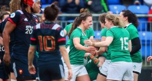 Ireland players celebrate Leah Lyons scoring a try during the Women's Six Nations Championship match against France at  Donnybrook. Photograph: Tommy Dickson/Inpho